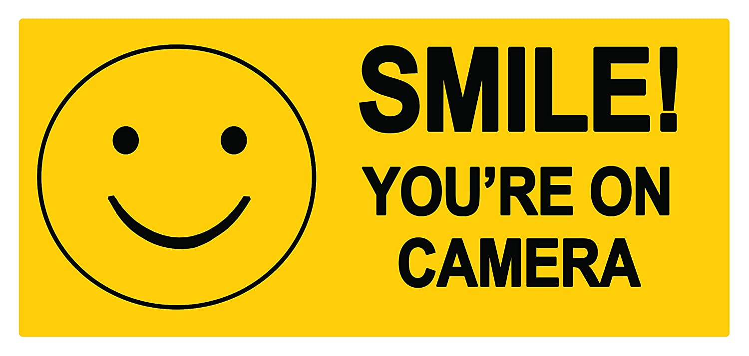 2 x SMILE you are on camera - Sign Sticker Label Sign Removable Self Adhesive Waterproof Durable Vinyl Label Sticker 225mm x 106mm PARTY DECOR