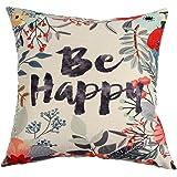 Ogiselestyle Unique Pillow Shams Beautiful Cotton Linen BE HAPPY Pattern Sofa Simple Home Decor Throw Pillow Case Cushion Cover 18x18