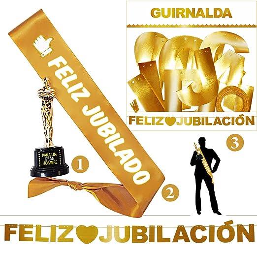 Inedit Festa - Jubilado Feliz Fiesta Jubilación - Guirnalda - Banda Honorífica y Figura