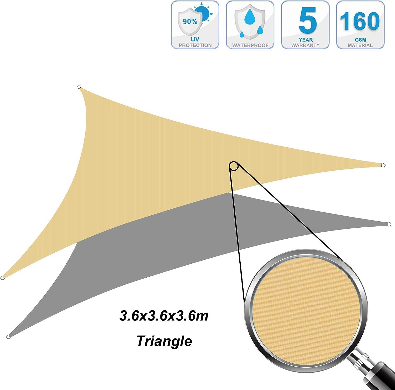 Cool Area Toldo Vela de Sombra Impermeable triángulo 3.6 x 3.6 x ...