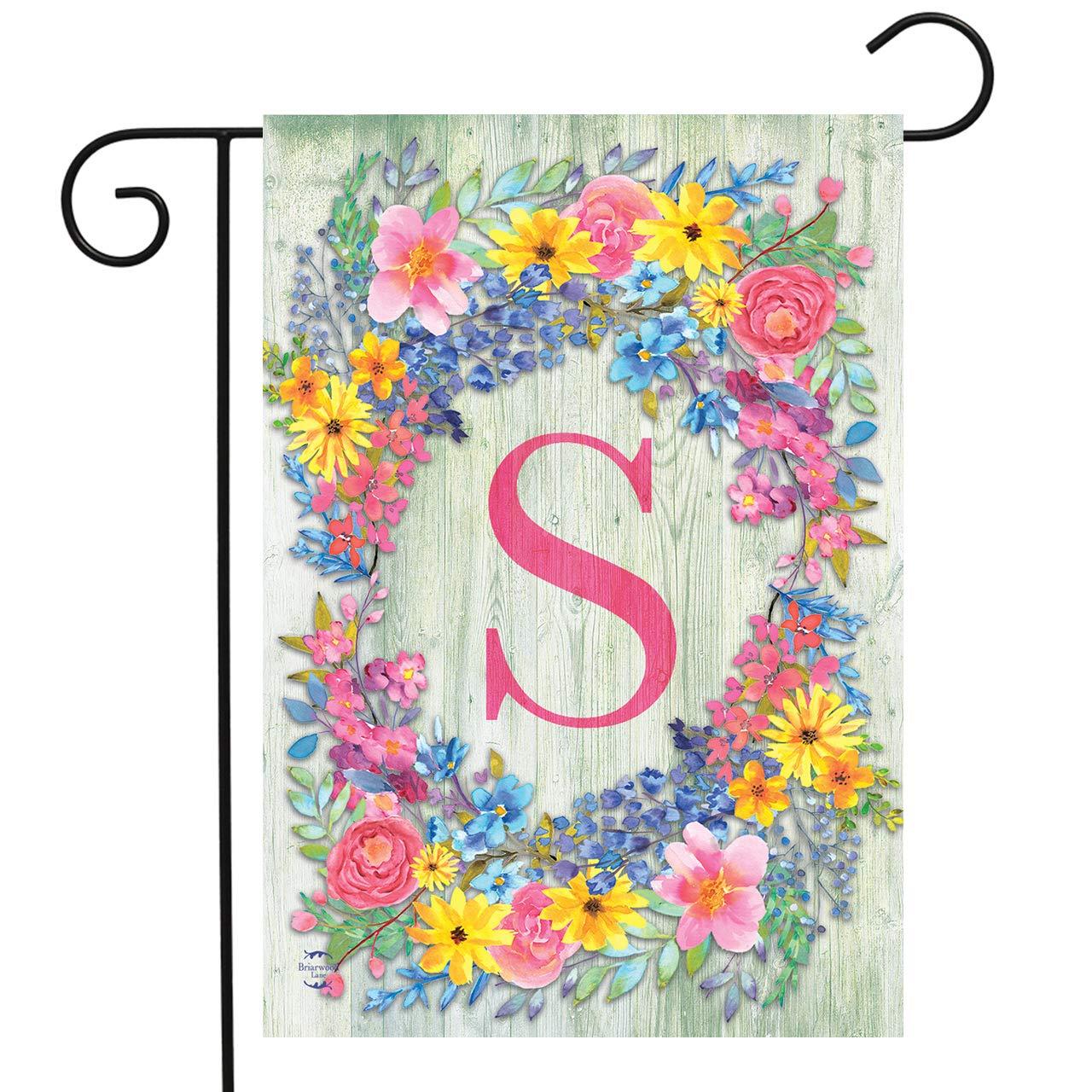 "Briarwood Lane Spring Monogram Letter S Garden Flag Floral Wreath 12.5"" x 18"""