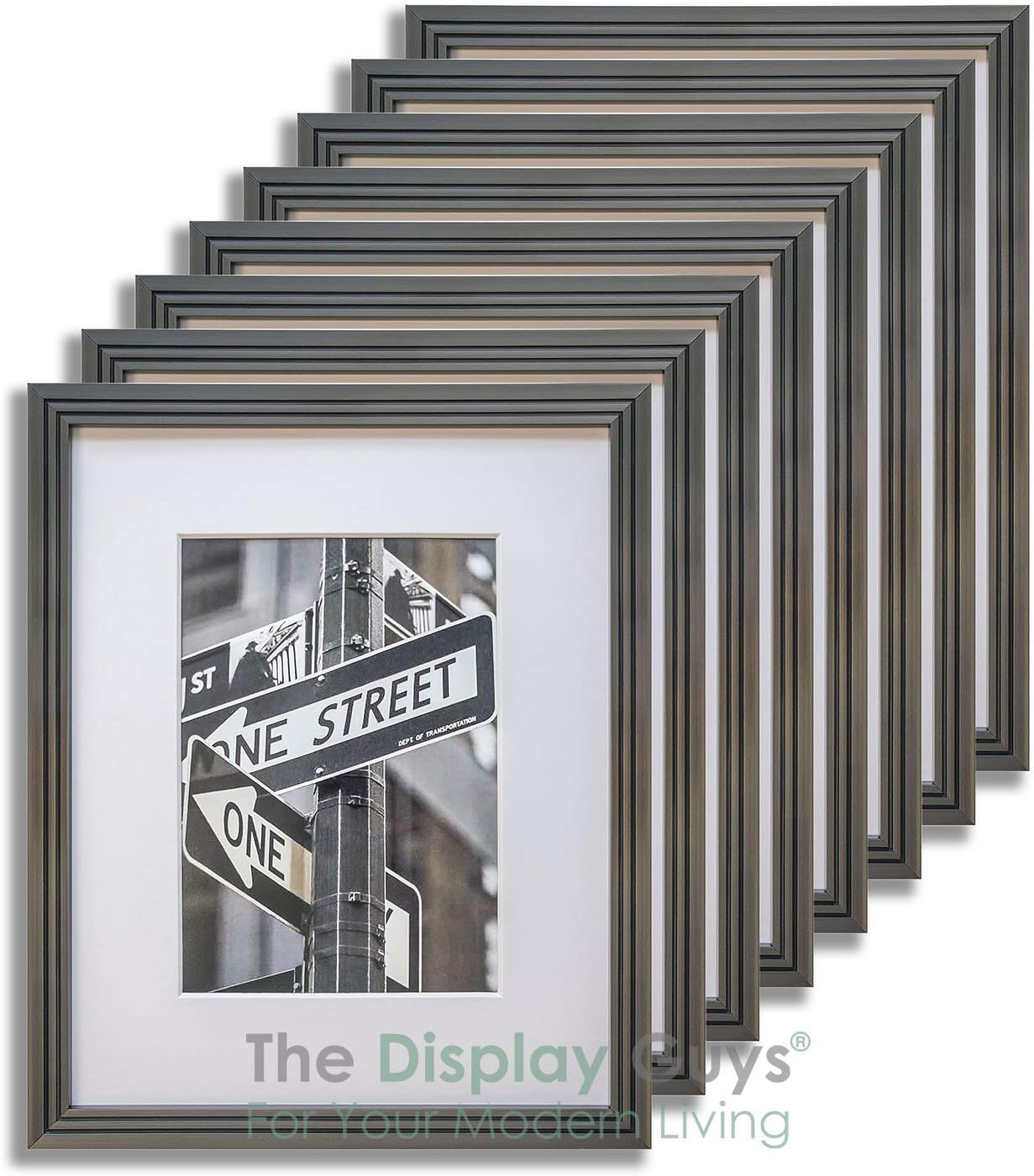 "The Display Guys 5x7 Steel Grey (Gunmetal) Art Deco Picture Frames w. Mat for 4x6 (Value 8-Pack), Plexiglass 5/8"" Thin Border"