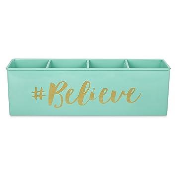 Elan Believe All In One Multifunctional Office Supplies Desk Organizer  Aqua