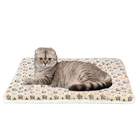 Calentar Mascota Cobija súper Suave Perro Gato Cama Estera (XL:70*100, Marrón)