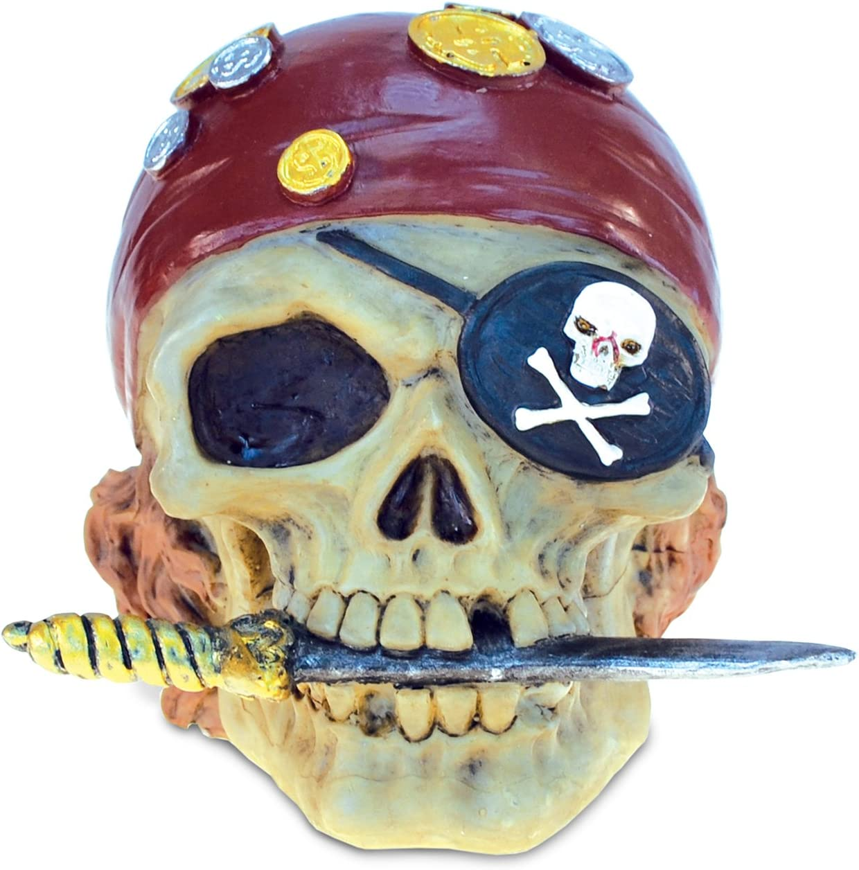 """COTA Global Nautical """"Skull Pirate"""" Figure Intricate Art Resin Sculpture Pirates Theme Décor Handcrafted Hand Painted Tabletop Figurine Money Coin Bank Decoration Home Accent Unique Gift Souvenir"""