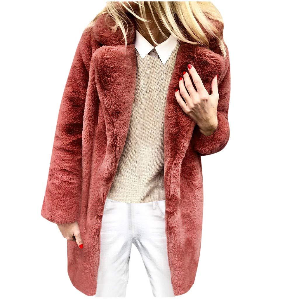 Dainzuy Women's Faux Fur Coat Ladies Winter Outerwear Long Sleeves Warm Jacket Sexy Lapel Overcoat Outerwear Red by Dainzuy Women Winter Clothes