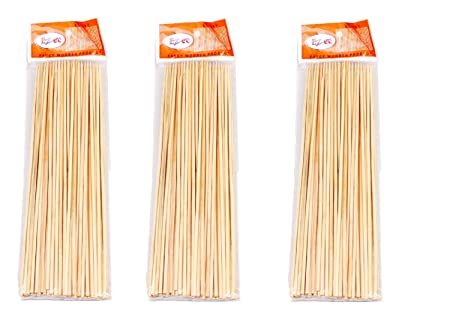 Ezee Wooden Kebab Skewers / Satay Sticks / Barbecue Sticks Wooden Satay Stick 6 Inches (Pack Of 3 - 90 In Each)