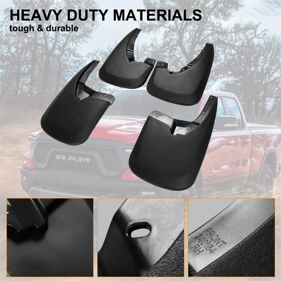 60e85b63dd ... KIWI MASTER Front and Rear Molded Splash Guards Mud Flaps for 2009-2018  Dodge Ram ...