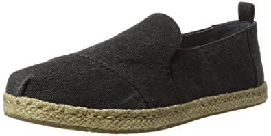 TOMS New Deconstructed Alpargata Black Washed Canvas 9 Womens Shoes