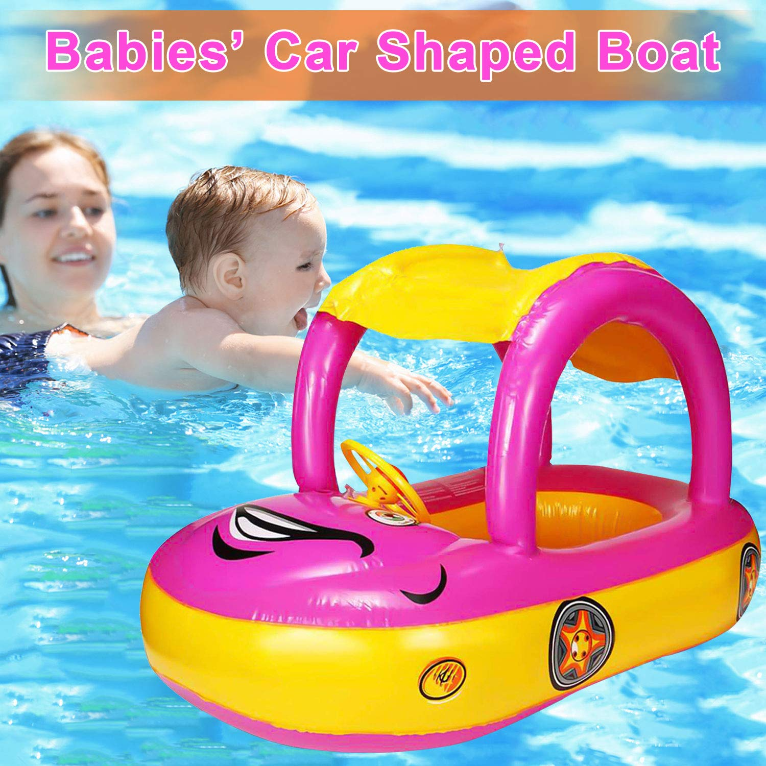 Fit 3-36 Months, Maximum 44lb Baby Swim Float with Canopy Car Shaped Inflatable Swimming Ring Boat with Sunshade for Boys Girls Toddler Infant Float for Pool Floating Cute Boat Summer Outdoor Play