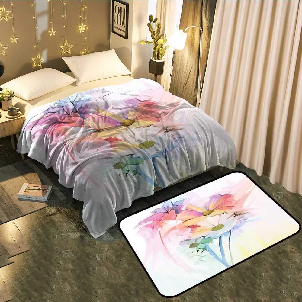 color10 Blanket 70 x90  Mat 6'X9' Blanket Floor mat Two-pieceDandelion Seeds in Air Splashes Pollination Time Mother Earth Print Better Deeper Sleep Blanket 60 x78  Mat 5'X8'