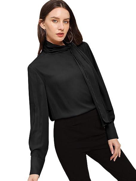 fafdb48ce16f7f SheIn Women's Side Bow Tie High Neck Long Sleeve Chiffon Blouse Shirt Top  X-Small