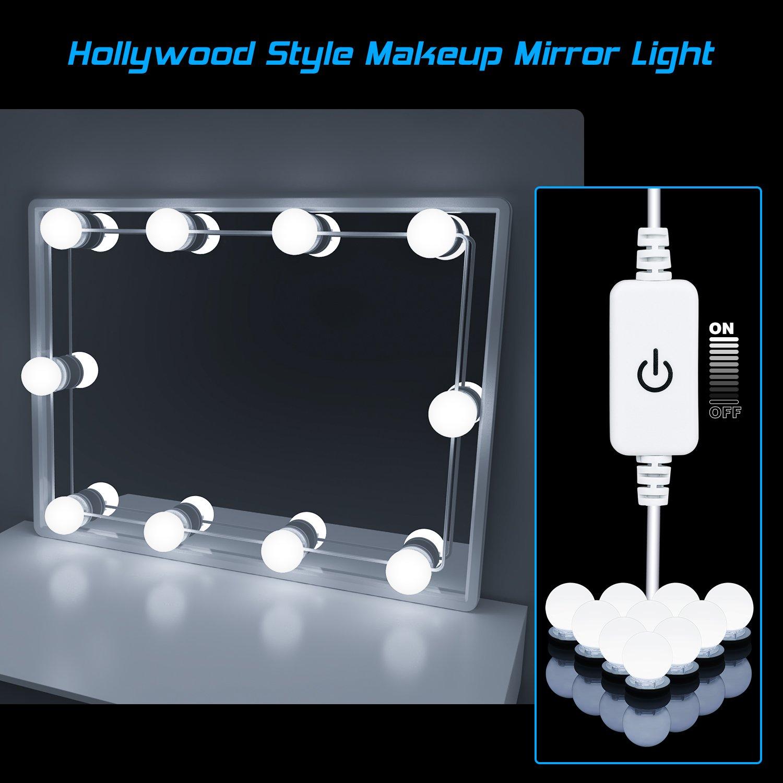 Led Spiegelleuchte, Hollywood Stil 10 Dimmbar Schminklicht 6000K ...