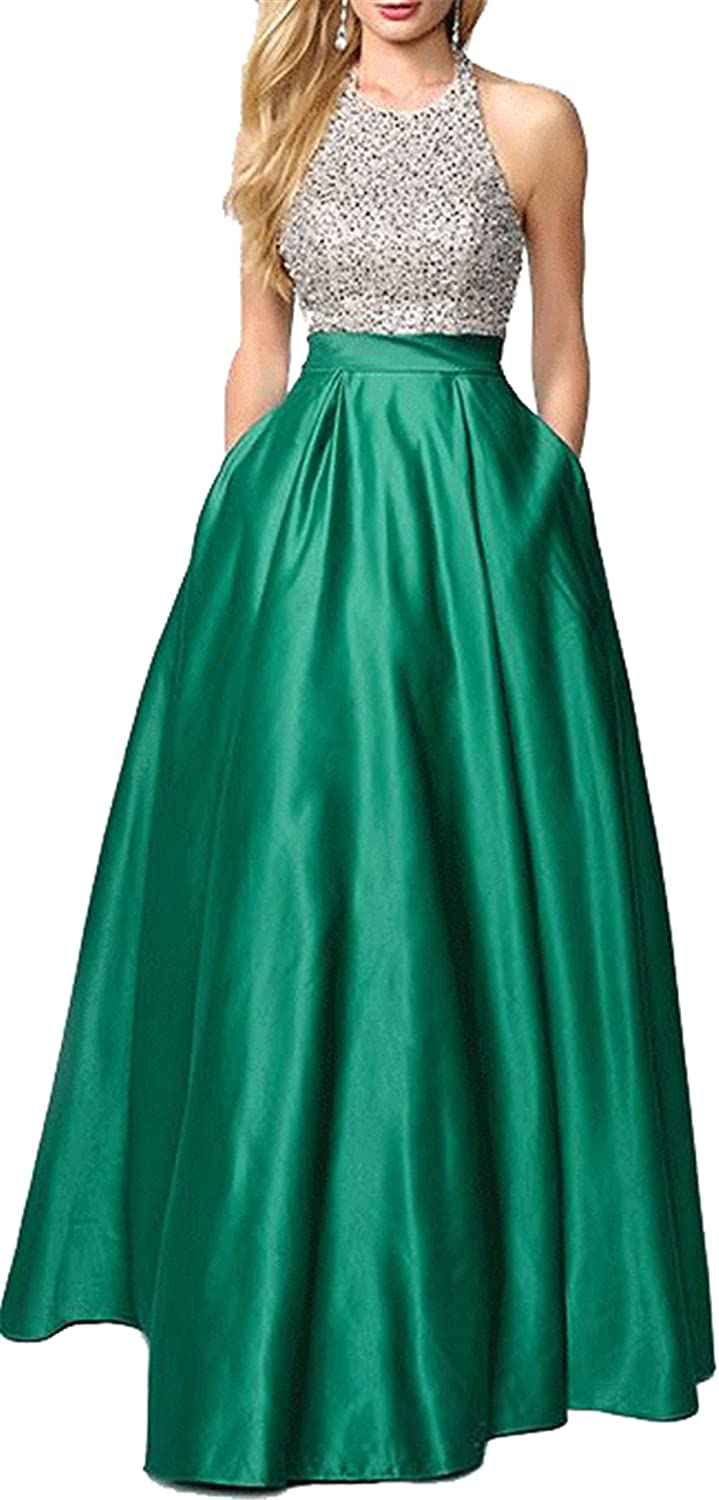 c9cf828b2f5 Amazon.com  Stylish Long A-Line Prom Dresses With High Front Slit Green  US20 Plus Size  Clothing