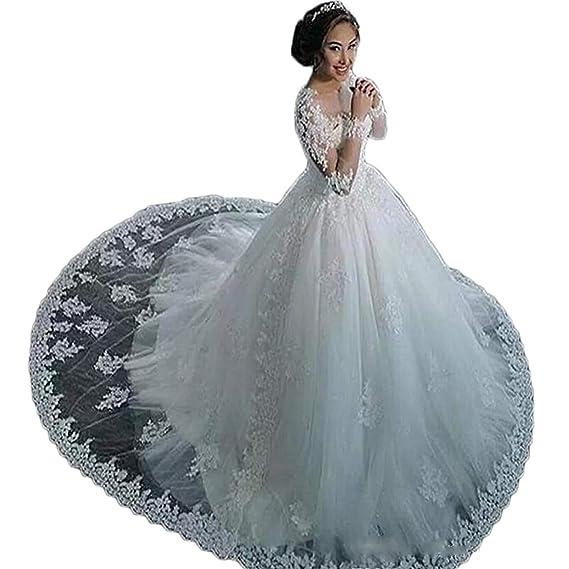 Brautkleider Mit äRmel Aus Spitze | Cocogirls Elegant Braut Lange Armel Hochzeitskleider Schier Hals