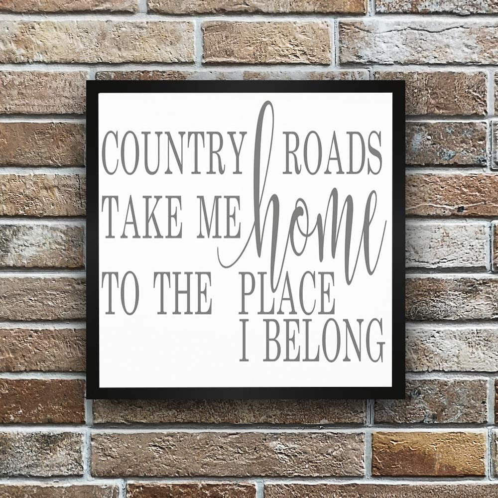 N/ A Framed Wood Sign,Wall Hanger,Country Roads Take Me Home Sign - John Denver Song Lyrics - Country Roads Sign - Country Decor-Home Decor