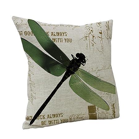 Nunubee Cute Green Dragonfly Printed Linen Cotton Decorative Pillow