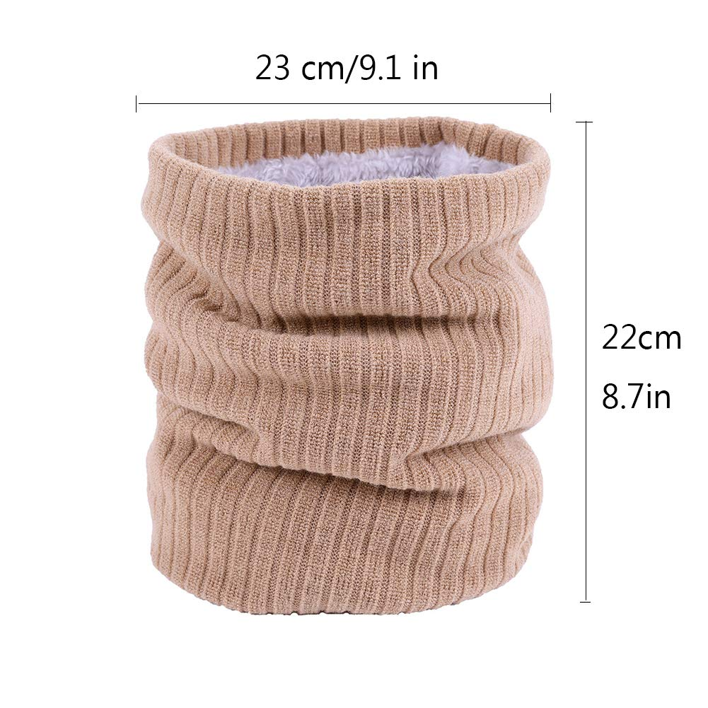 Childrens Knitted Scarf SunBeter Kids Thicken Fleece Tube Scarf Warm Neck Wrap Scarf for Boys Girls Autumn and Winter