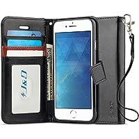J&D Compatible para iPhone 8 Plus Funda, [Bloqueo de RFID] [Soporte Plegable] Funda Pesada Resistentes Billetera para iPhone 8 Plus Funda Cuero - [No para iPhone 8] - Negro