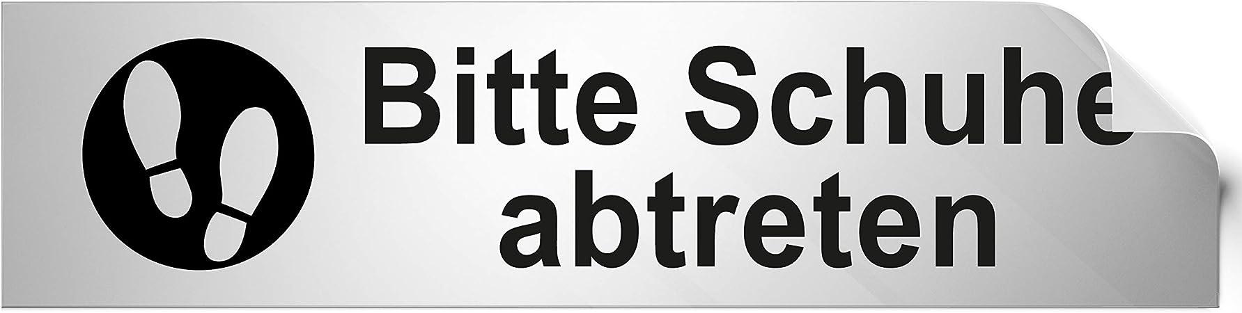 Kinekt3d Leitsysteme T/ürschild PVC Hinweisschild Information 160mm x 40mm Silber//Schwarz selbstklebend