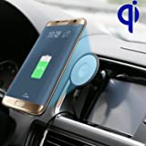 Car Qi Wireless Charger, Wireless and Wired 2 in 1 Power Qi Charger 12V Automobile Car Wireless Charging Transmitter for Galaxy S7 S6/S6 Edge Note 6 5, Google Nexus 6 / 5X (Black 3M)
