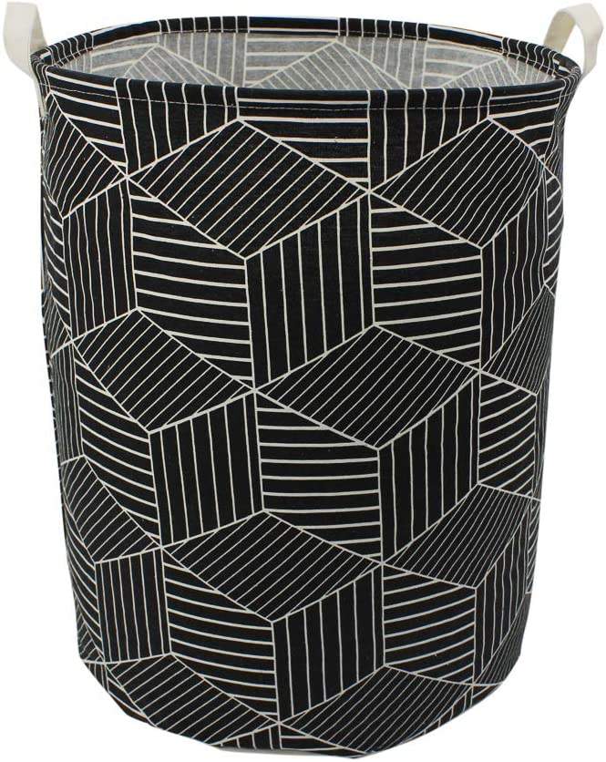 "Mziart 19.7"" Large Geometric Printed Foldable Laundry Hamper Bag Laundry Basket Sorter, Canvas Fabric Storage Basket Bin Home Organizer Containers for Nursery Baby Kids Toys (Black Diamond)"