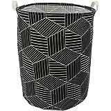 "Mziart 19.7"" Large Geometric Printed Foldable Laundry Hamper Bag Laundry Basket Sorter, Canvas Fabric Storage Basket Bin…"