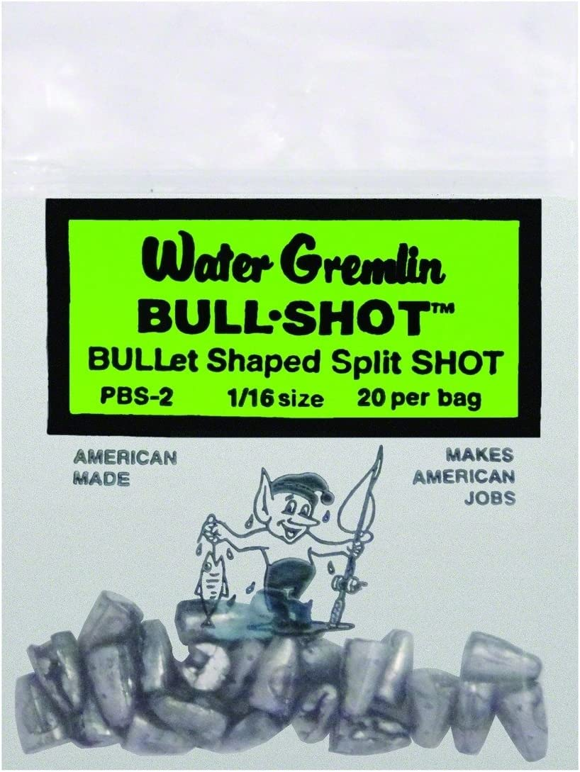 Water Gremlin Bull-Shot Bullet Shaped Split Shot Various Sizes and Quantities