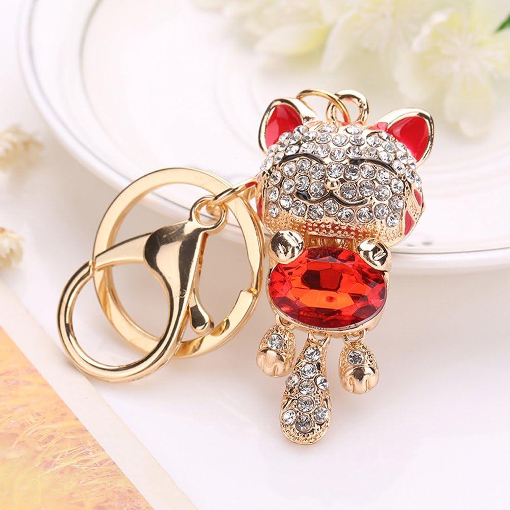Fashion Rhinestone Jewelry Key Chains Lucky Smile Cat Car Keyrings Crystal