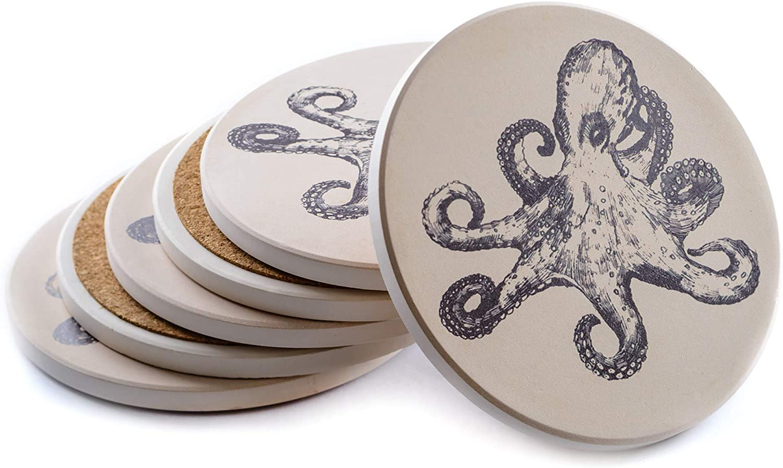 Octopus Decor - 6 Octopus Coasters for Drinks - Farmhouse Nautical Coasters Solid Absorbent Beach Beige Ceramic - Sea Coaster 4.13 inch - Octopus Gift - Octopus Home Decor - Coastal Decor