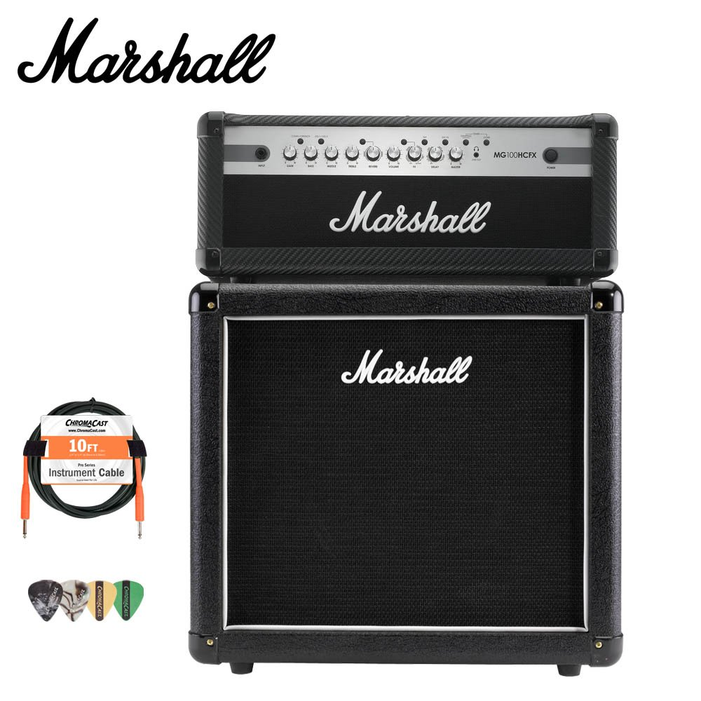 Marshall MX112 Guitar Speaker Cabinet and MG100HCFX Amp with Accessories