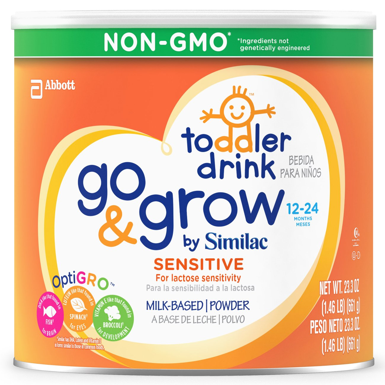 Go & Grow By Similac Sensitive Milk Based Toddler Drink, For Lactose Sensitivity, Large Size Powder, 23.2 Ounces (Pack of 6) by Similac (Image #1)