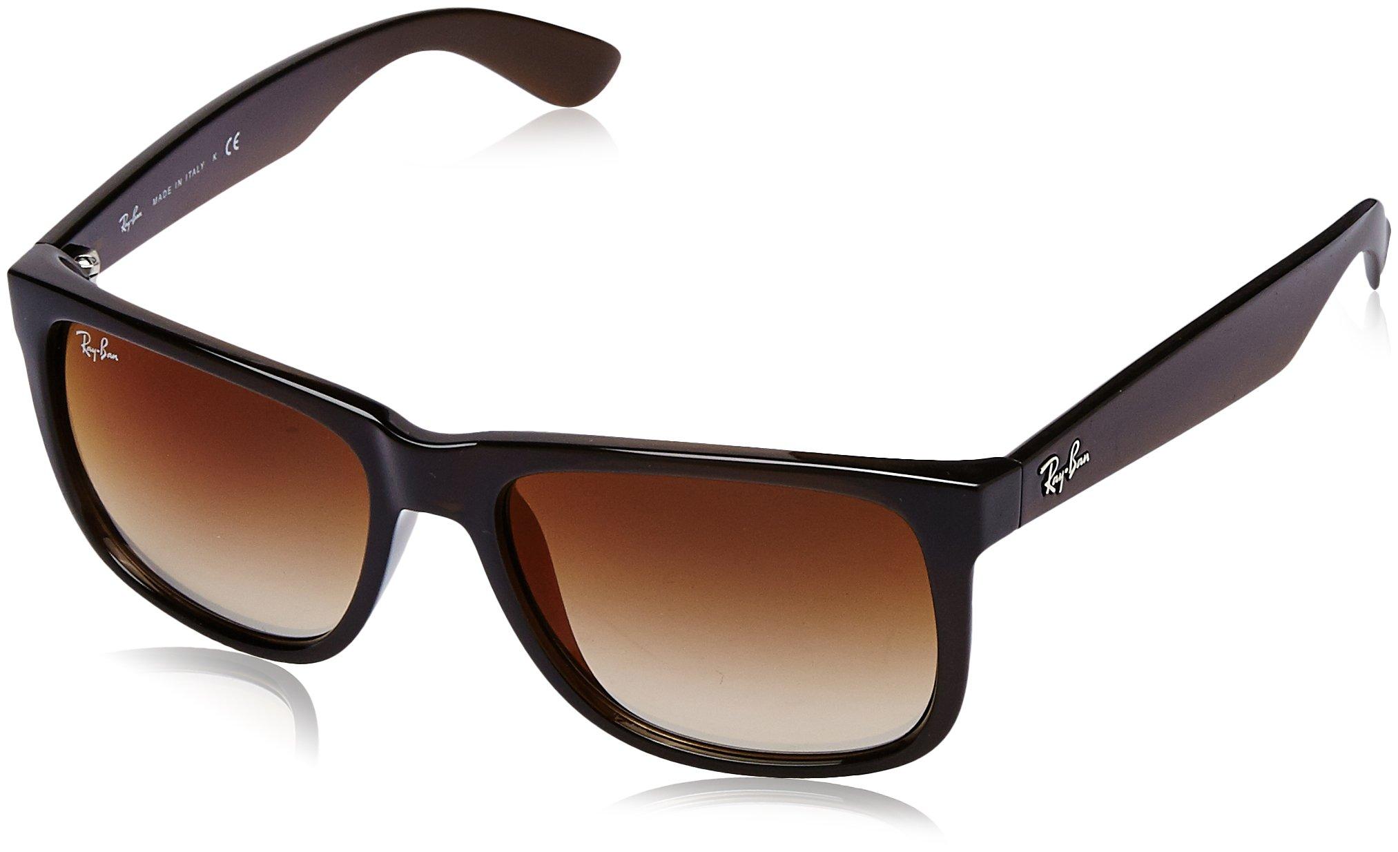 Ray-Ban Nylon Men Non-Polarized Iridium Rectangular Sunglasses, Brown, 53 mm