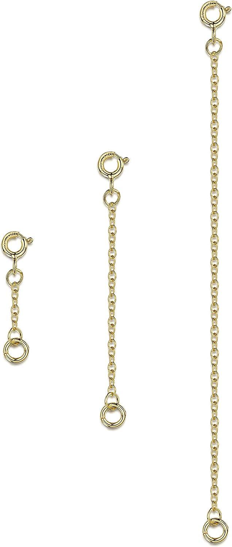 Kit di Catenine 2 mm per Allungare Bracciali e Cavigliere per Donna Lunghezze: 25 Amberta Set di 3 Estensori per Collane in Argento Sterling 925 50 e 100 mm