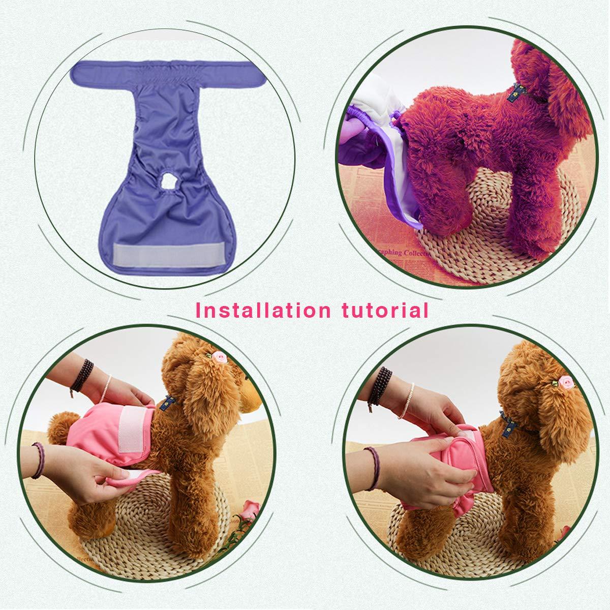 Lavables Elegantes y duraderos para incontinencia de Mascotas y Viajes Largos Cachorros XS-L Pa/ñales Reutilizables para Perro para Perros