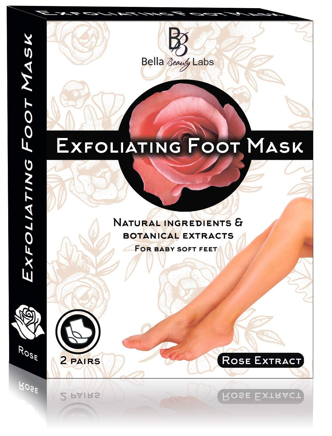 Foot Peel Mask 2 Pack for Smooth Soft Touch Feet - Peeling Away Calluses - Dead Skin Remover - Exfoliating Off Foot Mask for Baby Soft Silk Feet - Gel Socks Booties - Aloe Extract - Natural Rose Scent Bella Beauty Labs 4336305621