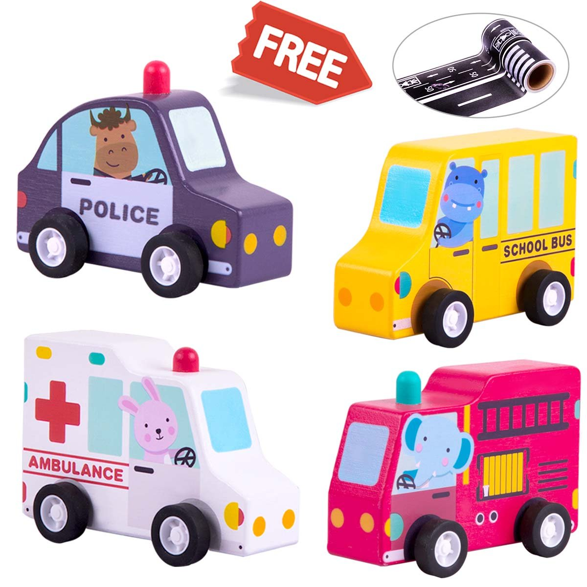 Kids Wooden Pull Back Vehicles Play Set, Emergency Truck Racing Toys with 2x Free Road Tapes, School Bus, Police Car, Fire Truck, Ambulance, Gift Pack for 1, 2, 3, 4 Years Old Baby Toddlers Boys Girls