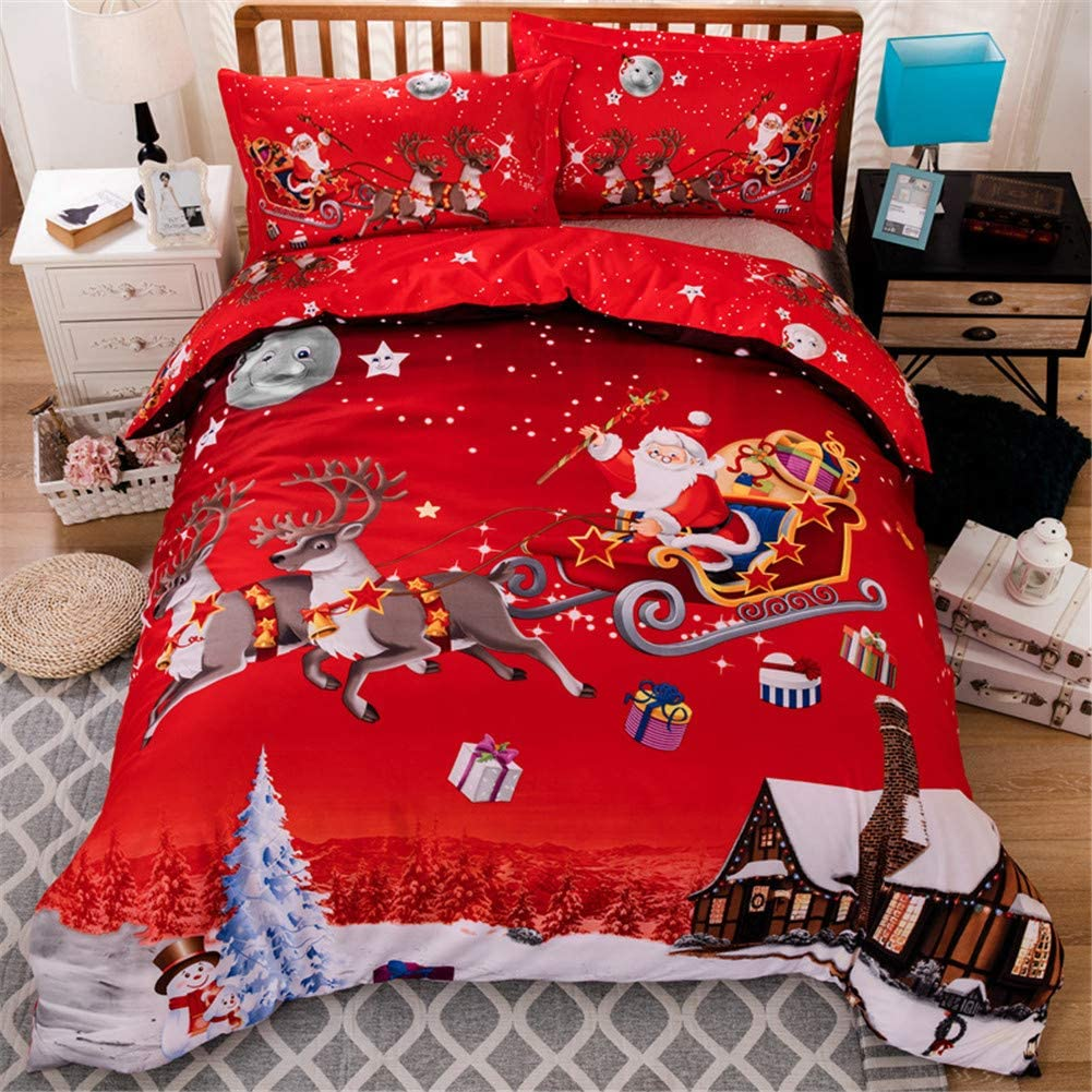 Christmas Bedding Duvet Cover 3 Piece Set Santa Claus Deer Pattern HD Printed Comforter Cover-Luxury Super Soft Microfiber Double Brushed Microfiber,Queen 90