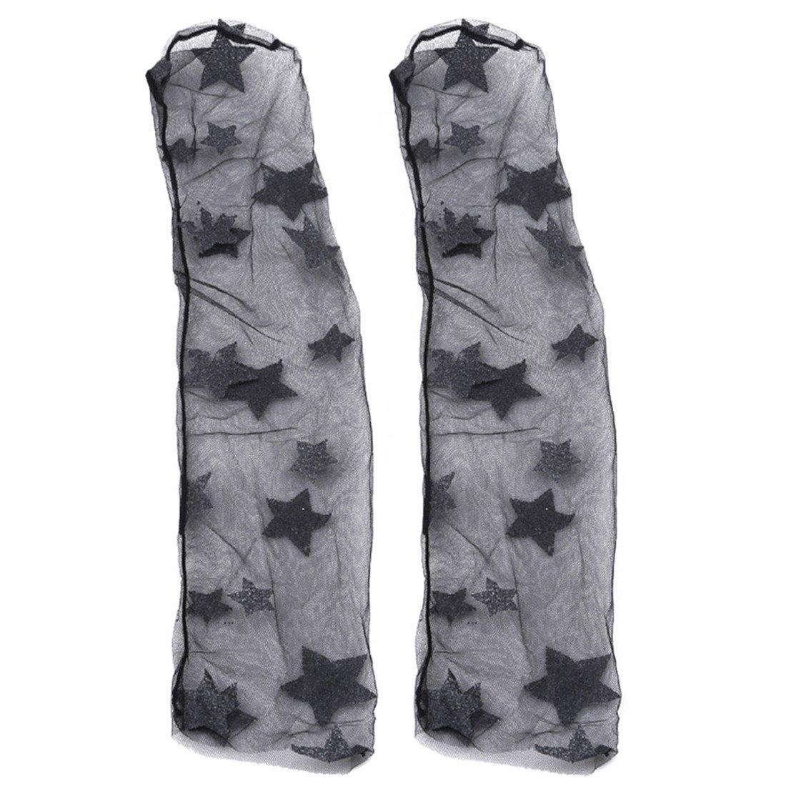 Edtoy 1 Pairs Stars pattern Women Socks Sheer Slouch Socks Transparent Lace Socks (Black)