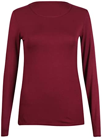 762e74c79c0 New Ladies Plain Stretch Fit Long Sleeve Womens T-Shirt Round Neck Basic Top  Burgundy Size 8-10  Amazon.co.uk  Clothing