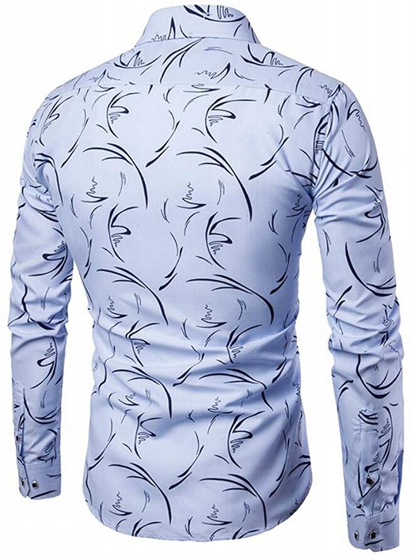 Rrive Mens Casual Slim Fit Print Pattern Long Sleeve Button Front Shirts