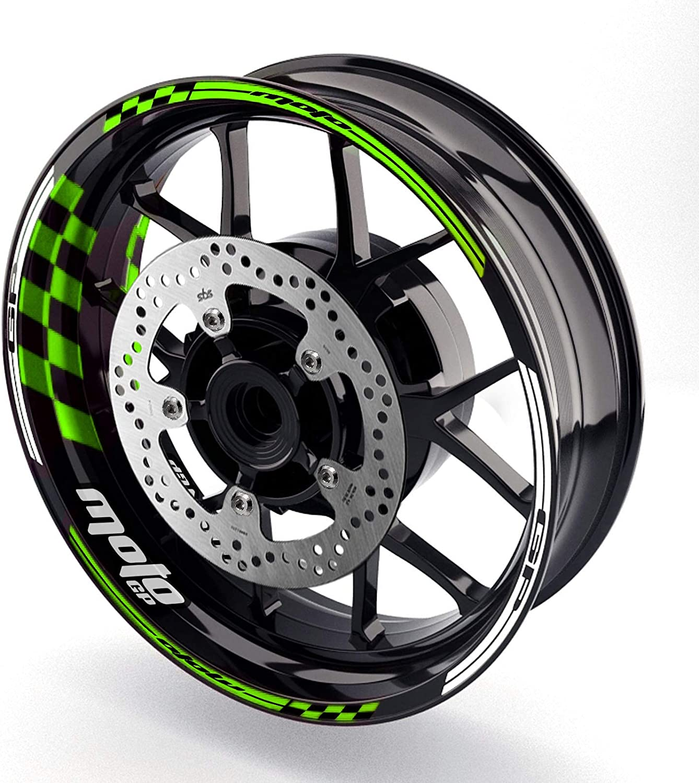 Green MC Motoparts 17 Wheel Rim Stickers GP01 Edge Inner Wall Decals Tape DIY Racing For Honda Kawasaki Yamaha