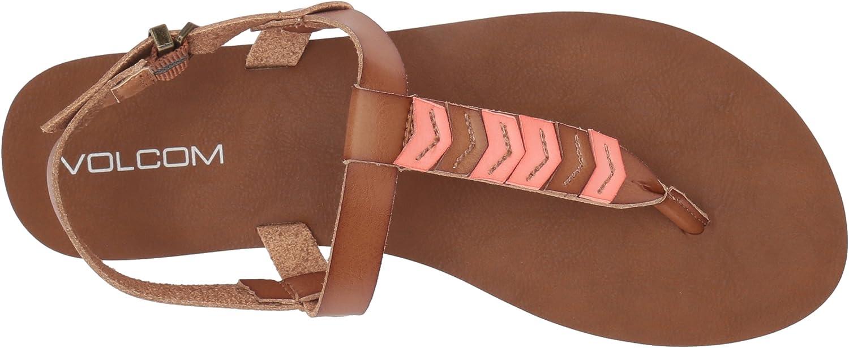 Volcom Womens Trail 6 Chevron T-Strap Synthetic Leather Fashion Sandal Flat