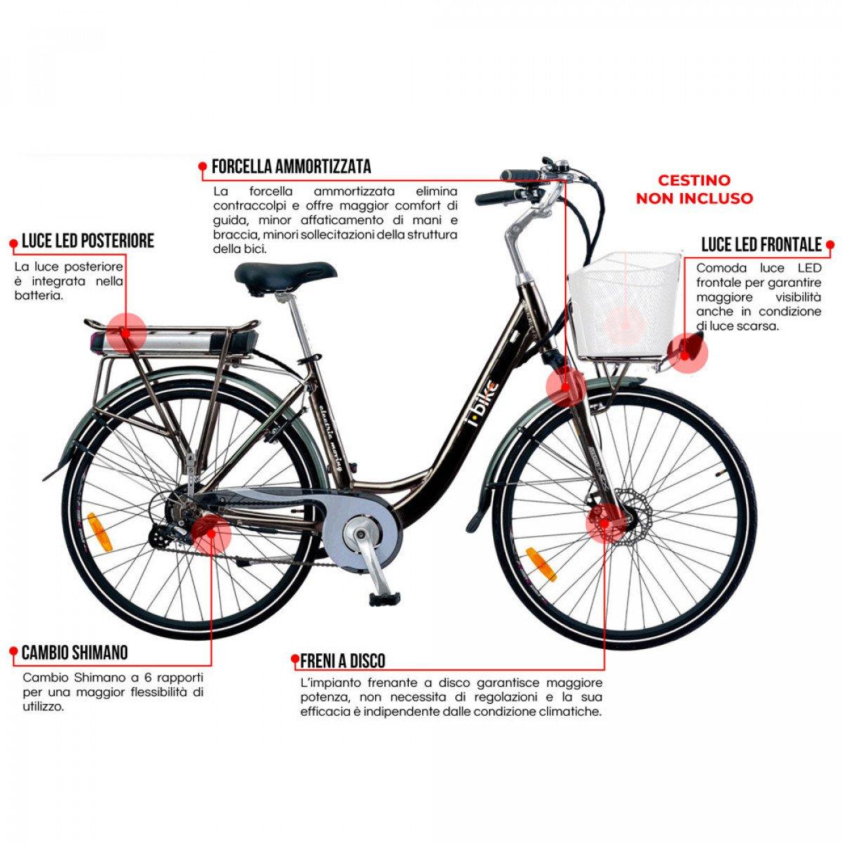I Bike City 1d Bicicletta Elettrica Con Pedalata Assistita Nero 28