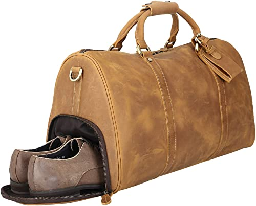 Polare 20 Natural Leather Travel Duffel Weekender Bag Luggage with Shoe Pouch YKK Metal Zippers