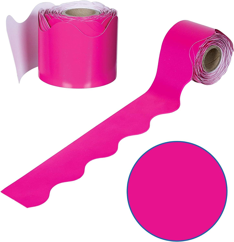 Hot Pink Rolled Bulletin Board Borders, Carson Dellosa Classroom Decorations, 36 Feet