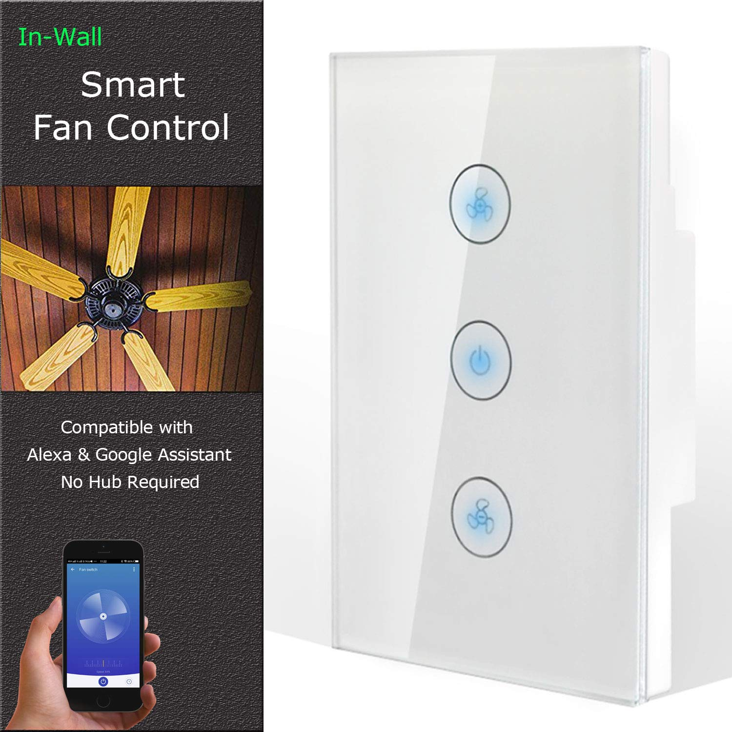 Combination Switch Compatible with Alexa Touch Wall Switch Panel Smart Wifi Light Switches Replace 2 Switches in 1 Gang Wall Box Smartphone App Control