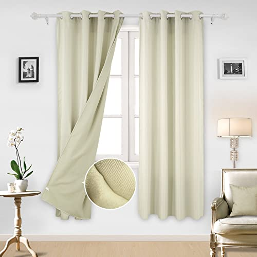 Deconovo Solid Grommet Window Curtains for Bathroom, 52x84Inch, Beige