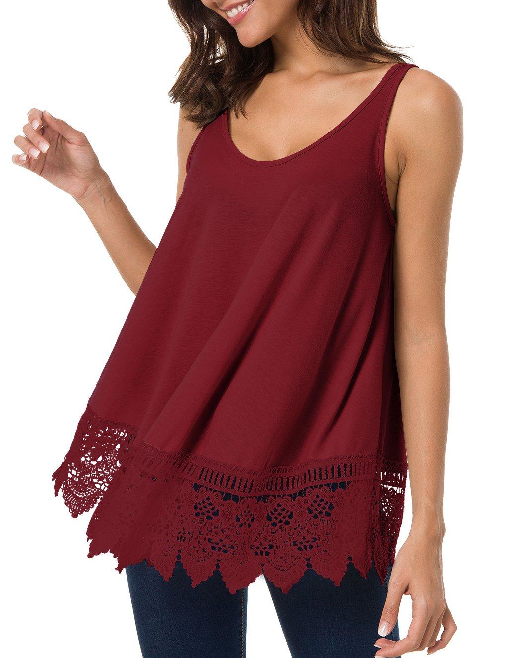 T.SEBAN Womens Tops, Sleeveless Summer Tops Shirt Lace Casual Loose Tank Tops for Women