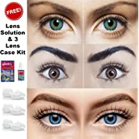 Sparkle Eye Combo Pack of 3 (Turquoise, Brown & Blue) Monthly Color Contact Lenses (Zero Power) with Free Lens Solution & Lens Container Kit